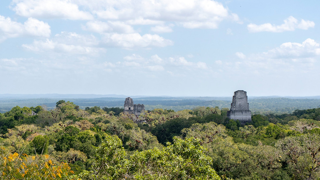 Tikal Guatemala: Temple IV - Climb to the top for views of Temples I, II and III