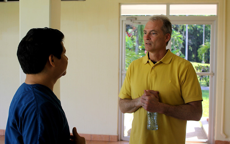 Carlos Baltadano our friend on the ground at Clinica Ezell for Health Talents International and Vine International medical cirector Bruce Alsop.