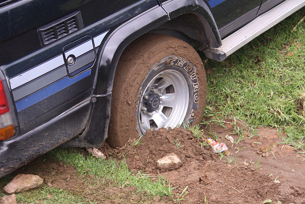 and got our 4 wheel drive stuck in some of the slickest mud I've seen.  It stuck to everything, filled the tire treads...