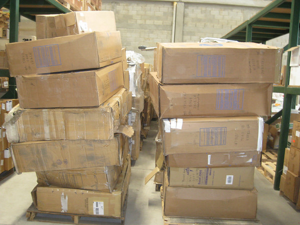 One full row stacked all the way for those of you who have been in the warehouse, plus another five pallets in another row,