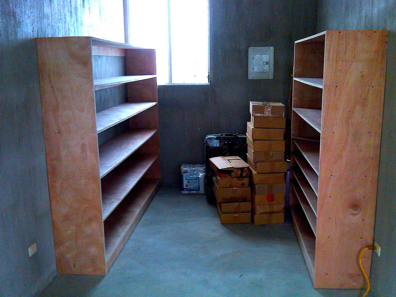 One 8 foot long shelve and tive six foot long shelves...
