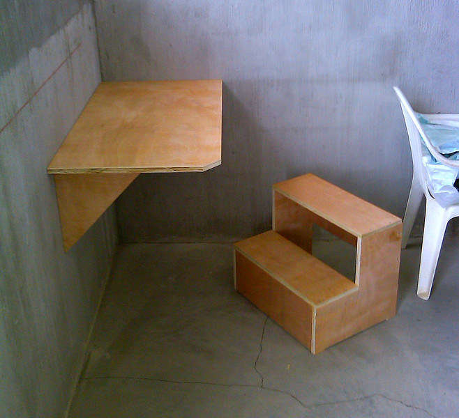 five or six set of steps for short people to get up on exam tables and Tim designed writing desks for each exam room up stairs.  Joy Ghring in her phone call today wanted me to forward her gratitude.  The doctors are impressed and using the writing desks, the patients are using the steps.