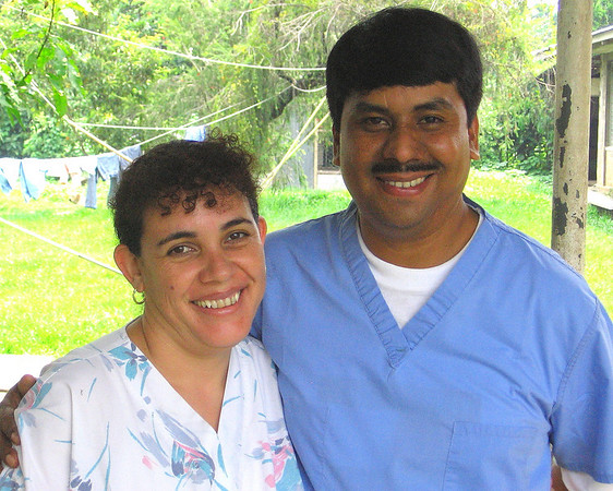 Veronica and Dr. Sergio Castillo - jungle doctor!!!  This couple manages a rural hospital (Hospital Cristiano Santa Fe) in Chocola Guatemala.  Veronica was the first to see the surgical light in room one and had tears in her eyes.  She said Sergio will think it is Christmas...