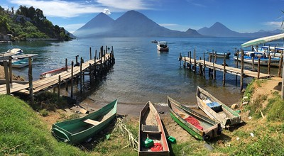 Cayucos and Volcanos at Lake Atitlán, Guatemala