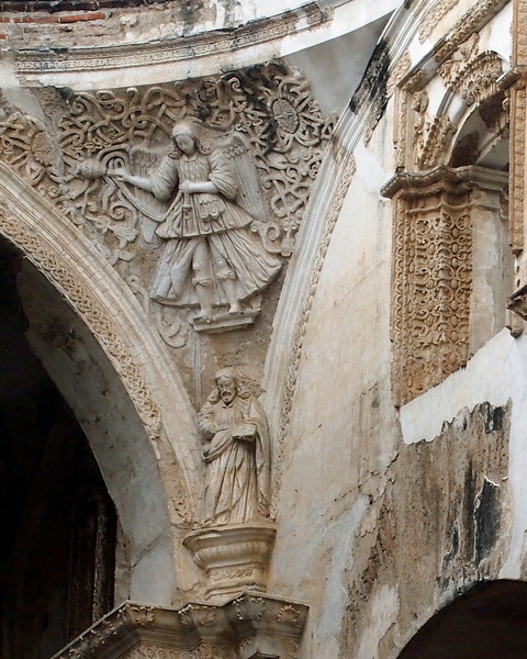 Ruined Cathedral Santiago Antigua 1545 desroyed by earthquake 1773 Angel with Censer over Christ