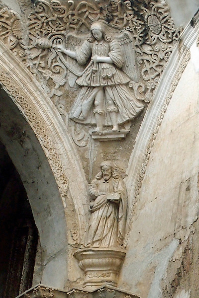 Ruined Cathedral Santiago Antigua 1545 desroyed by earthquake 1773 Carving with an Angel with a Censer over Christ