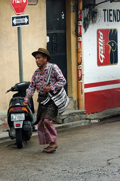Guatemalan man wearing traditional kilt and pants
