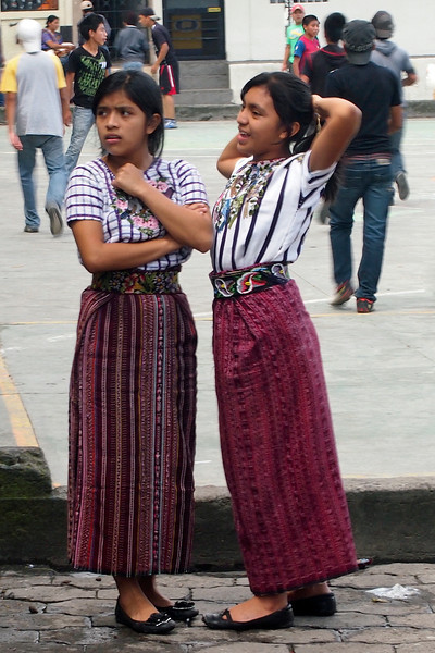 School girls in Santiago Atitlan - traditional dress