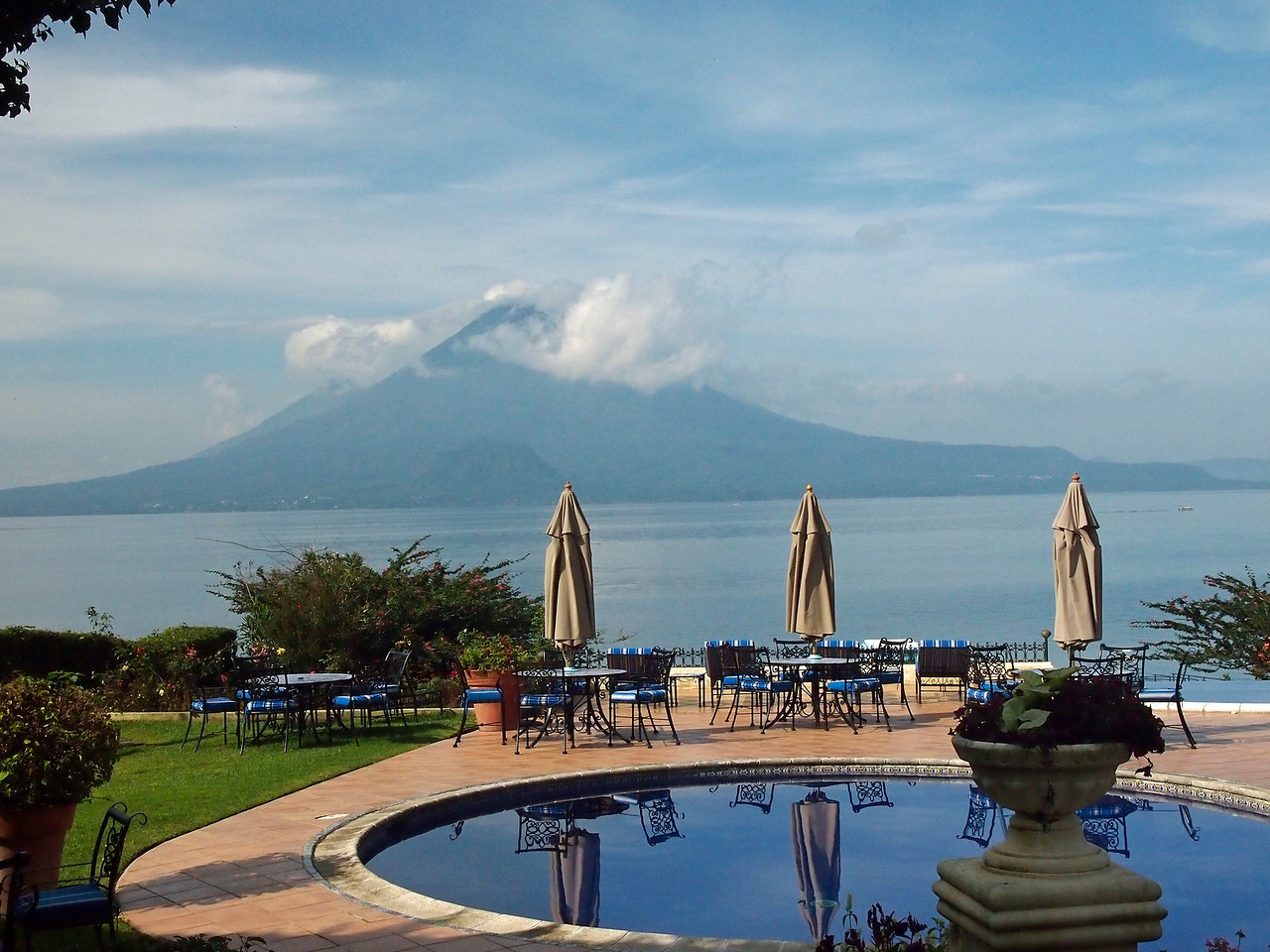 Lake Atitlan and Volcan Toliman from the hotel