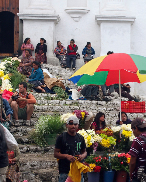 Steps of Capilla del Calvario with vendors
