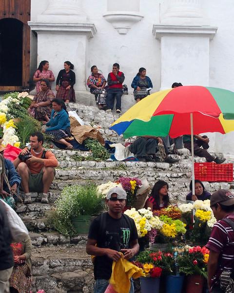 Steps of Capilla del Calvario with vendors