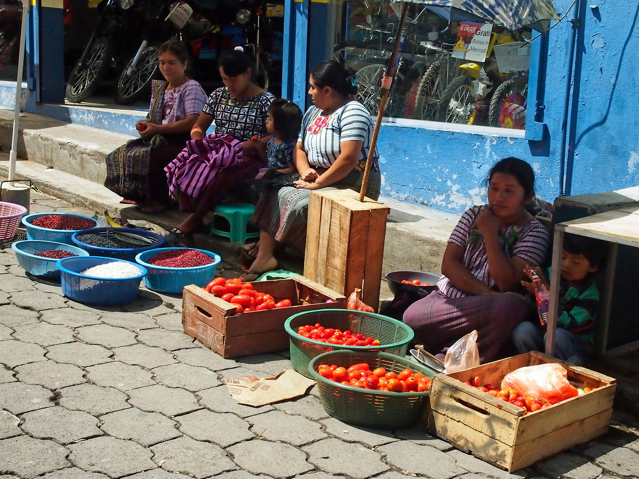 Maya Ladies selling beans at the market in Santiago Atitlan