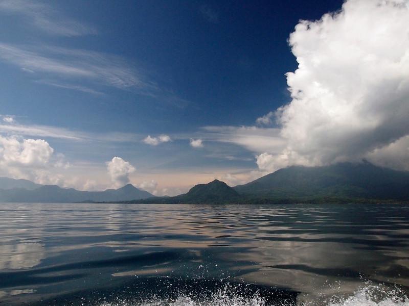 Lake Atitlan approaching Santiago Atitlan