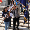 Lynn, Ma. 9-13-17. Daynalee Lopez Rolby Nmorles and Mayor Judith Flanagan Kennedy heads for the flag pole outside of Lynn City Hall for the Guatemalan Flag raisisng.