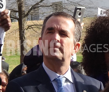 Ralph Northam attends a Minimum Wage Increase Protest at the Capitol Richmond, VA