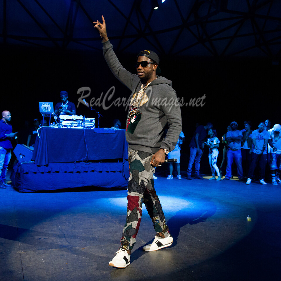DETROIT, MI - AUGUST 20:  Gucci Mane performs on stage at Chene Park on August 20, 2017 in Detroit, Michigan.  (Photo by Aaron J. Thornton/Getty Images)