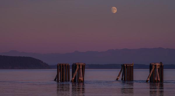 Moon Over Ferry Dock