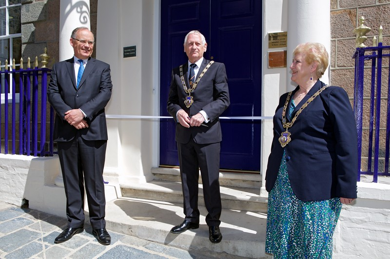 Ribbon across the entrance of the newly refurbished St Peter Port Constables' office