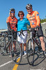 Andrea Nightingale, Mira Domaille, and Richard Freeman at the start of the Rock to Rocque Bike Ride