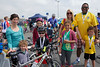 Families after finishing the Rock to Rocque Bike Ride in aid of Les Bourgs Hospice