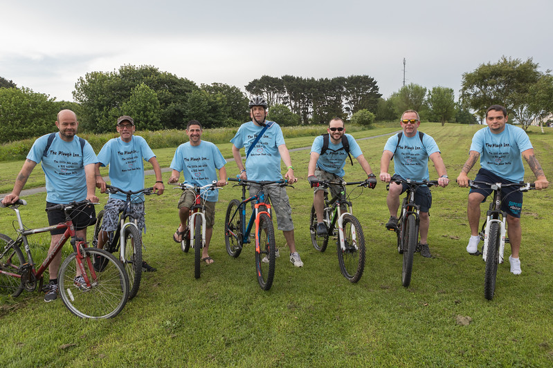 The Plough Inn cycling team at the start of the Rock to Rocque Bike Ride