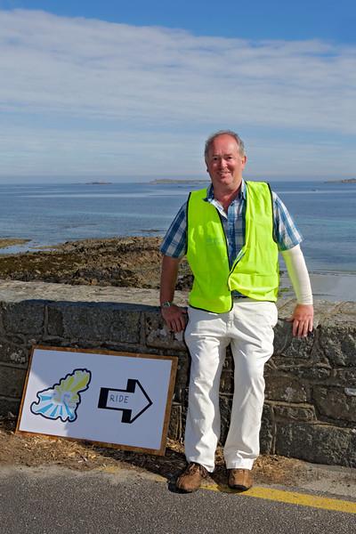 Rock to Rocque Bike Ride volunteer at Rocquaine Bay