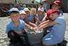 Le Mare de Carteret pupils learn to wash laundry on a washboard
