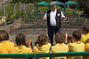Ivan Le Tissier as Mr Squibbs speaks to Castel Primary School children
