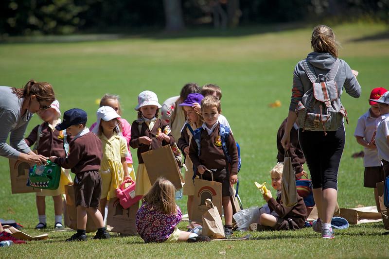 Primary school chidren begin their lunch in Saumarez Park