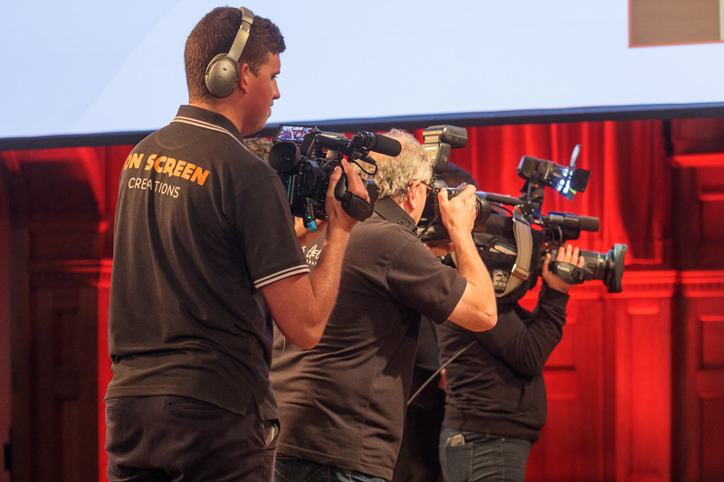 On Screen Creations, Chris George Photography, and Channel ITV filming the announcement of the winner of the 2017 Guernsey Charity of the Year award