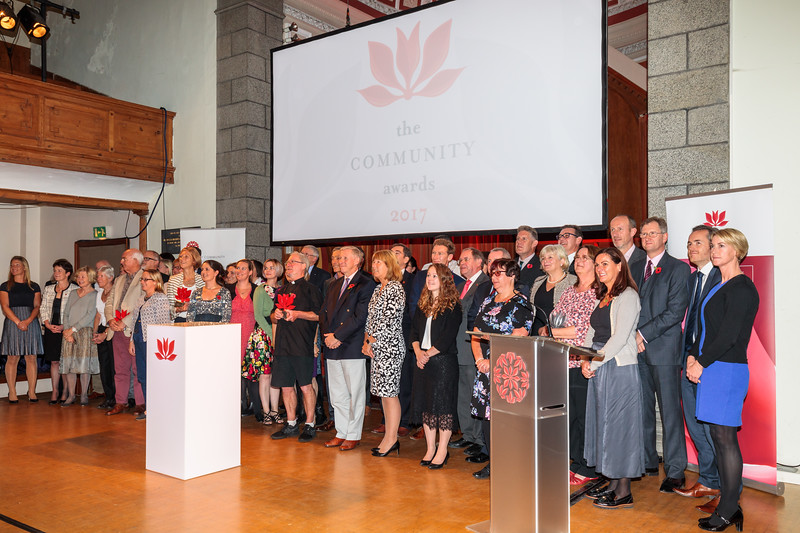 2017 Guernsey Community Award winners and sponsors on stage at the St James Concert and Assembly Hall, St Peter Port