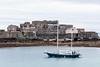 M/Y Fantastico sails by Caslte Cornet, St Peter Port harbour, Guernsey