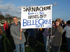 Sarnia Cherie Gem of the Sea Hands off Belle Greve Bay banner in protest march against Long Port Group proposals to landfill Belle Greve Bay.  Save Belle Greve Bay march 26 November 20006<br /> File No. 261106 4637