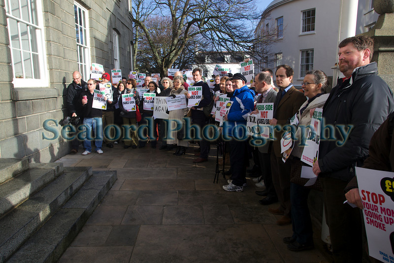 Suez incinerator protest on the steps of the Royal Court in St Peter Port