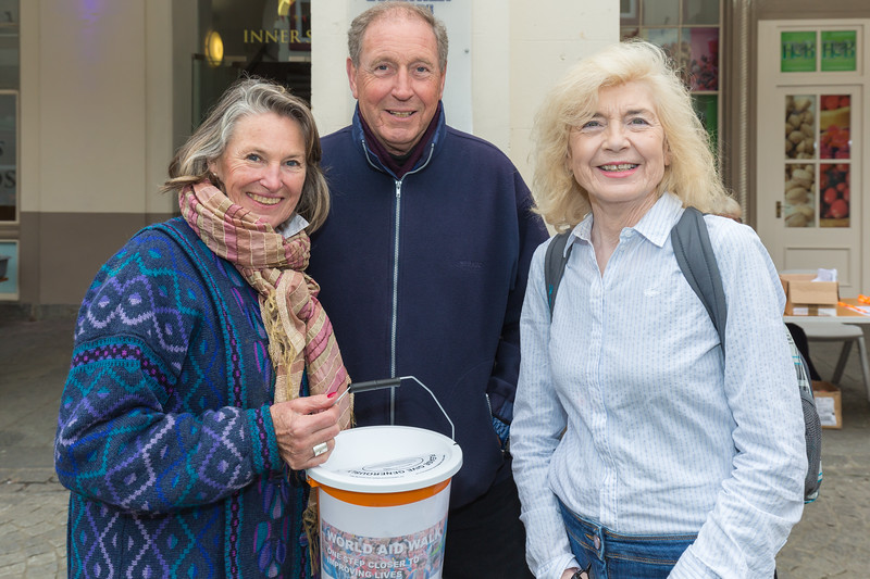 Fund raising in Market Square, St Peter Port during World Aid Walk