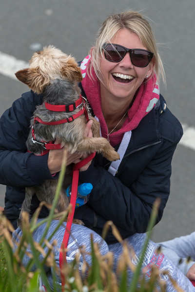 Guernsey World Aid Walk walker with her dog on Les Banques