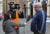Trevor Kelham being interviewed about Guernsey's World Aid Walk