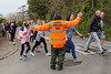 Allister Carey acts as crossing guard during 2016 Guernsey World Aid Walk