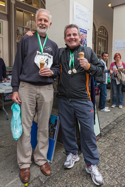 Vic Richer and Albert Matthews with their medals for completing the 2012 Guernsey World Aid Walk