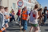 Guernsey World Aid Walk walkers Kevin Boscher marshall crossing street St Peter Port 060513 ©RLLord 9014 smg