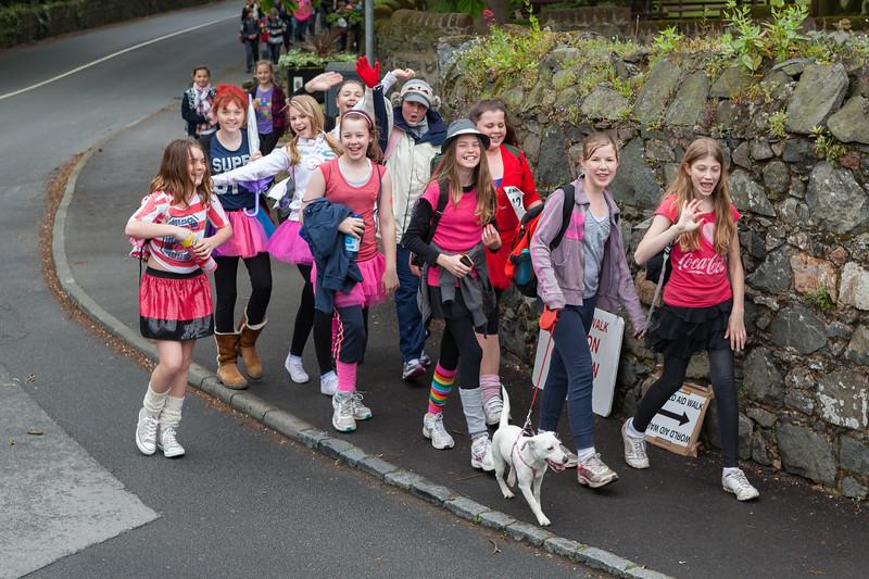 Guernsey World Aid Walk participants turning into Rohais de Haut