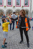 High-fives from Guernsey World Aid Walk chair Bella Farrell