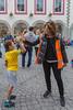 High-fives from Guernsey World Aid Walk chair Bella Farrell