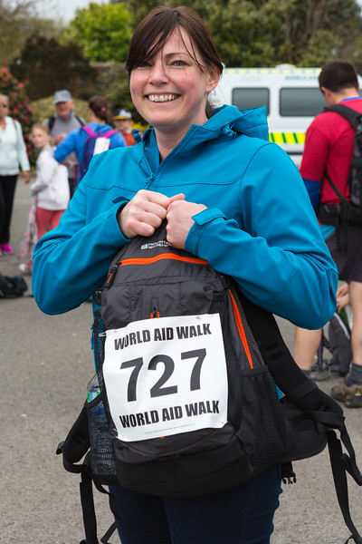 Emily Litten arrives at Vale Douzaine Room check point during Guernsey World Aid Walk