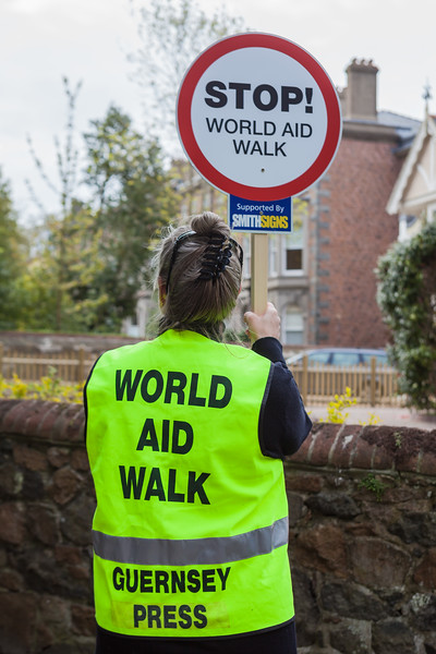 Volunteer traffic marshall during Guernsey World Aid Walk