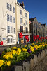 Granite stone traffic dividing wall planted with flowers on the St Peter Port waterfront