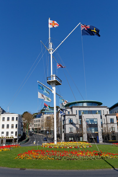 Weighbridge Mast with flowerbeds in St Peter Port, Guernsey