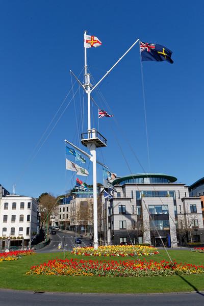 Weighbridge Mast with flowerbeds in St Peter Port, Guernsey