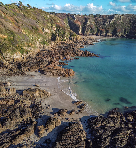 View from Moulin Huet to Petit Port on Guernsey's south coast on 4th November 2020