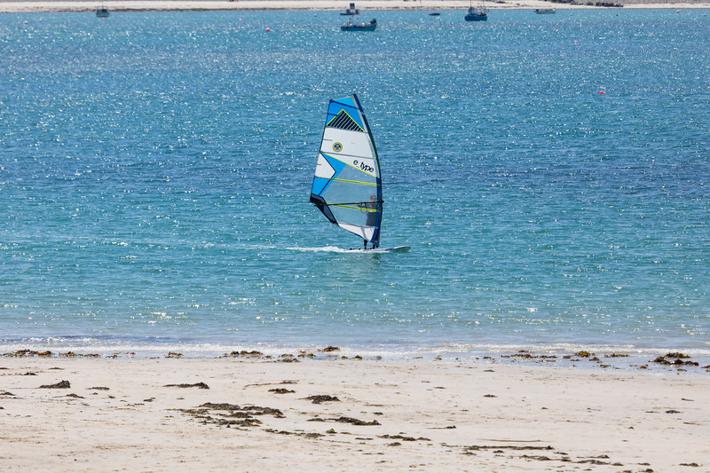 Wind surfing in Ladies Bay, Guernsey